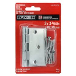Everbilt 3 inch Rev Door Hinge (2-Pack) Pol Chr