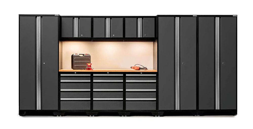 NewAge Products Bold Series Steel Tool Cabinet Set in Grey with Bamboo Worktop (10-Piece)
