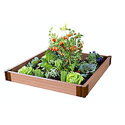 Frame It All Tool-Free Classic Sienna Raised Garden Bed 4 ft. x 4 ft. x 5.5 inch  2 inch profile