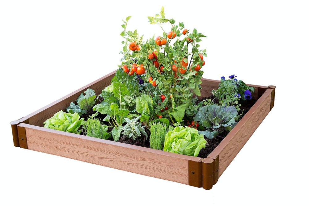 Frame It All Classic Sienna 4 ft. x 4 ft. x 5.5-inch with 2-inch Profile Composite Raised Garden Bed
