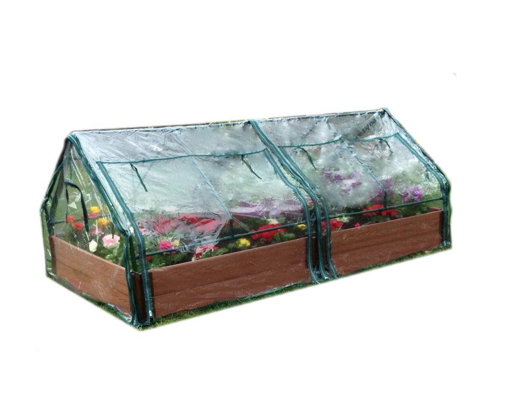 Raised Garden 2 Inch 4x8ft 2 Level c/w 2 PVC Greenhouse