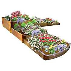 Tool-Free Classic Sienna Raised Garden Bed Split Waterfall Tri-Level 12 ft. x 12 ft. x 22 inch  2 inch profile