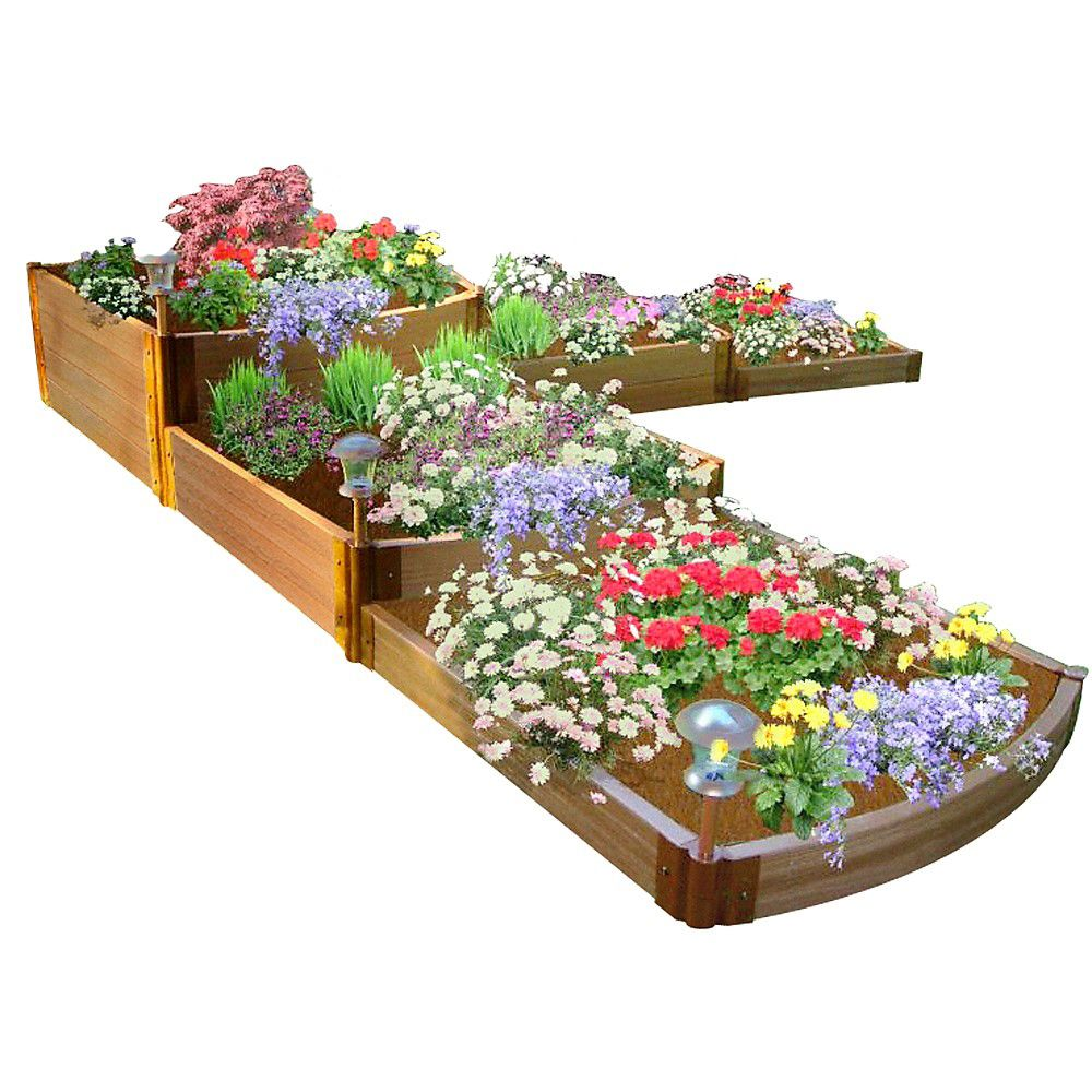 Frame It All Tool-Free Classic Sienna Raised Garden Bed Split Waterfall Tri-Level 12 ft. x 12 ft. x 22 inch  2 inch profile