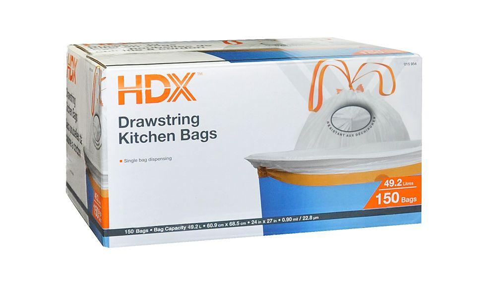 42.5L White Drawstring Kitchen Garbage Bag (150-Pack)