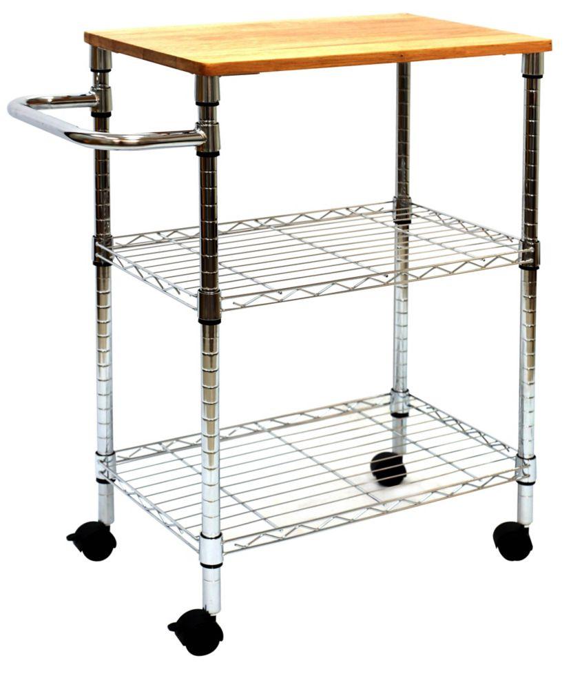 Chariot de cuisine de 3 niveaux avec dessus en bois d'hévéa