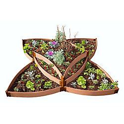 Frame It All Tool-Free Classic Sienna Raised Garden Bed Versailles Sunburst 8' x 8' x 16.5 inch  2 inch profile