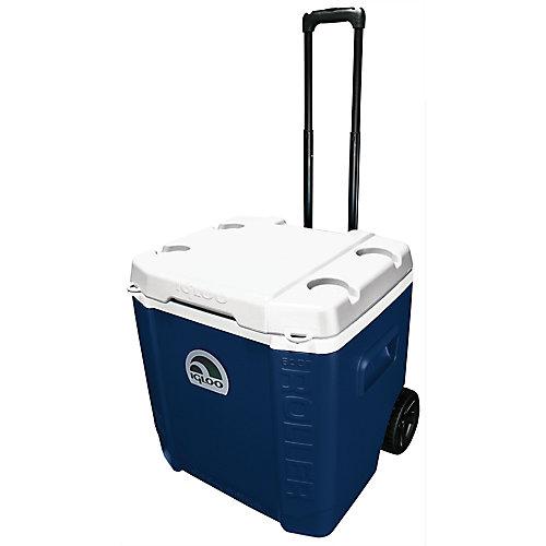Glacière rigide de 57 L à roulettes Transformer d'Igloo - Bleu minuit - Blanc