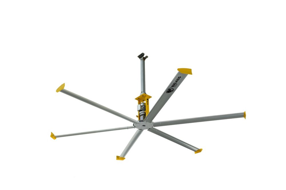 4900 14 ft. Indoor Silver and Yellow Shop Ceiling Fan