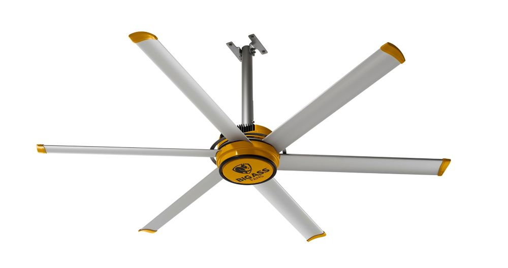 Big Ass Fans 2025 7 ft. Indoor Silver and Yellow Shop  Ceiling Fan