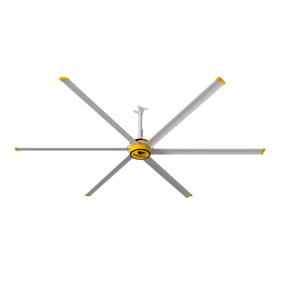 3600 12 ft. Indoor Silver and Yellow Shop Ceiling Fan