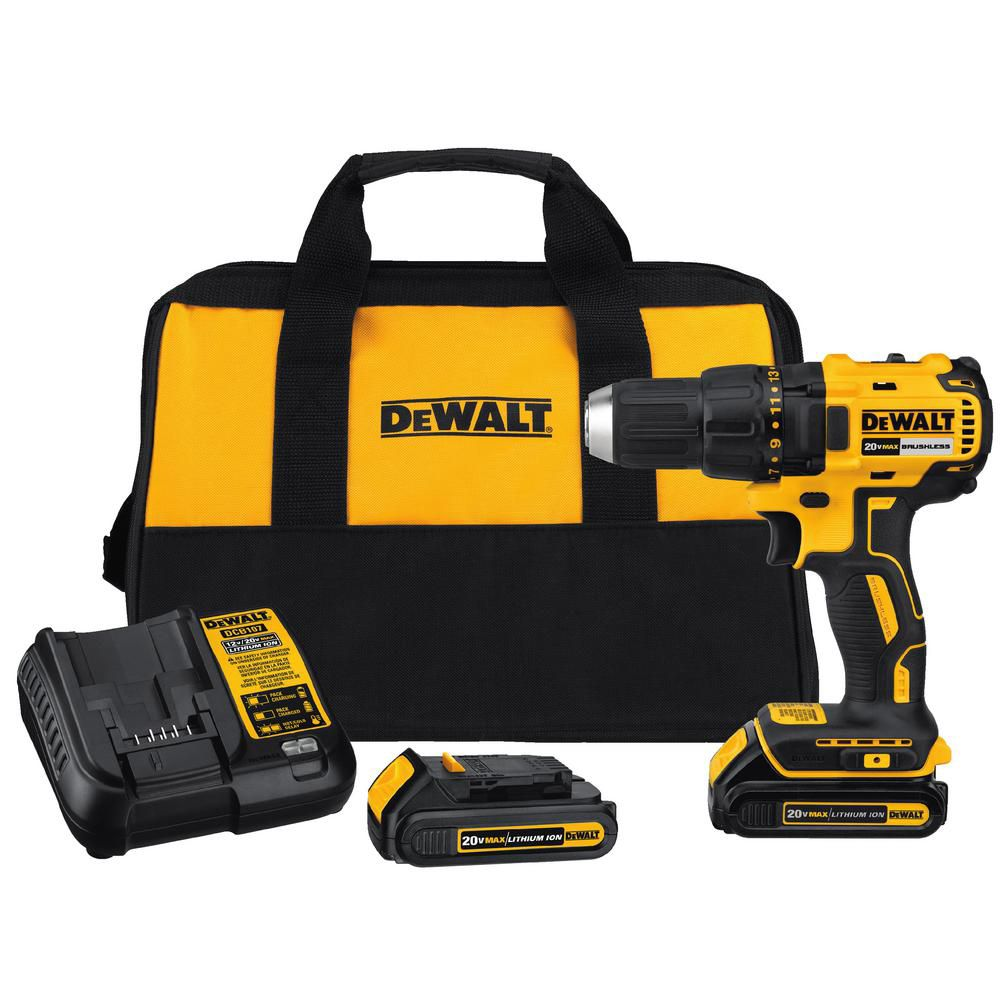 DEWALT 20V Lithium-Ion 1/2-inch Cordless Compact Brushless Drill Driver with 2 Batteries and Charger