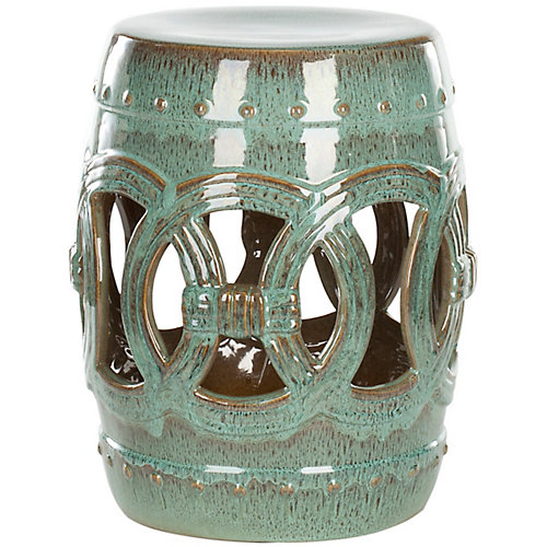 Double Coin Ceramic Patio Stool in Blue-Green