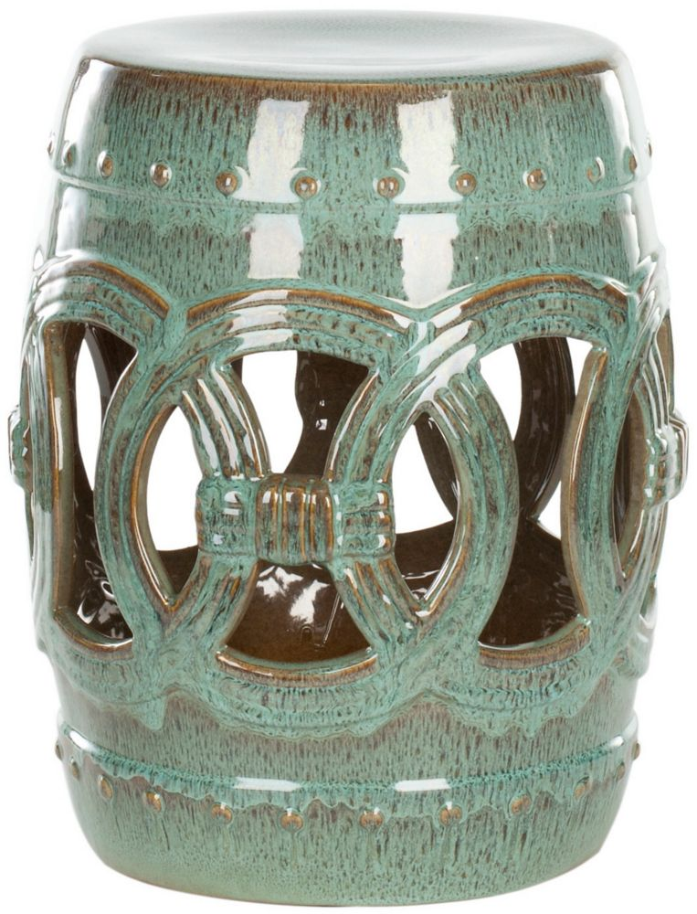 Safavieh Double Coin Ceramic Patio Stool in Blue-Green