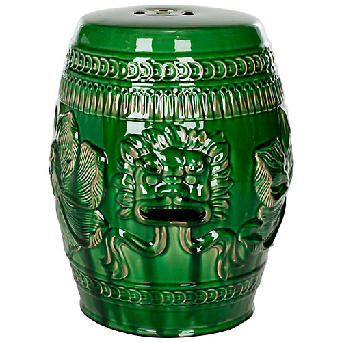 Chinese Dragon Indoor/Patio Stool in Green