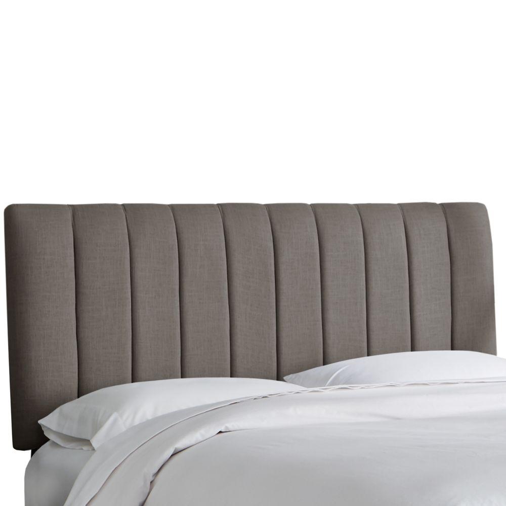 Tête de lit rembourrée roi en linge gris