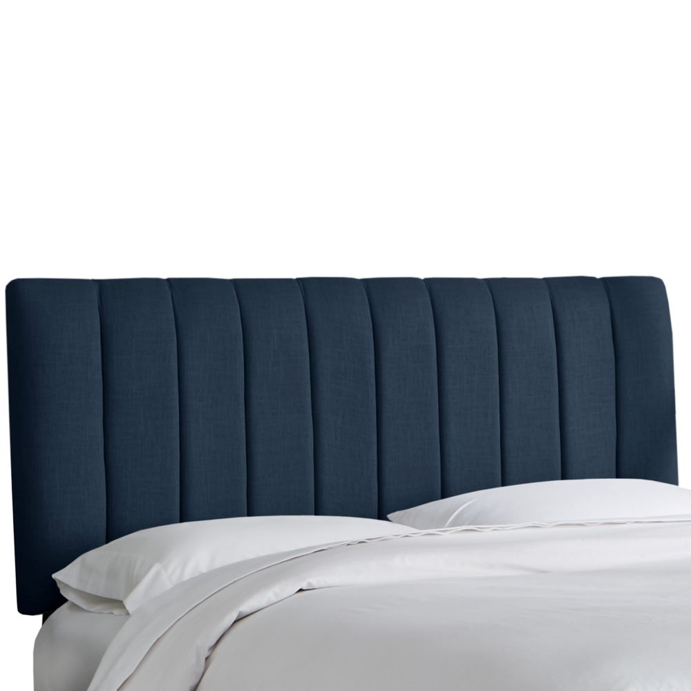King Channel Seam Headboard In Linen Navy