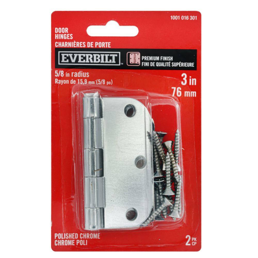 Everbilt 3 inch Door Hinge 5/8Rd 2Pk Polished Chrome
