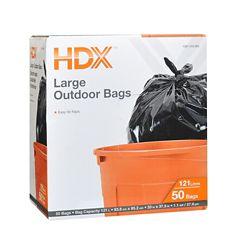 HDX Grands sacs poubelles d'extérieur HDX, 121 L, 50/paq.