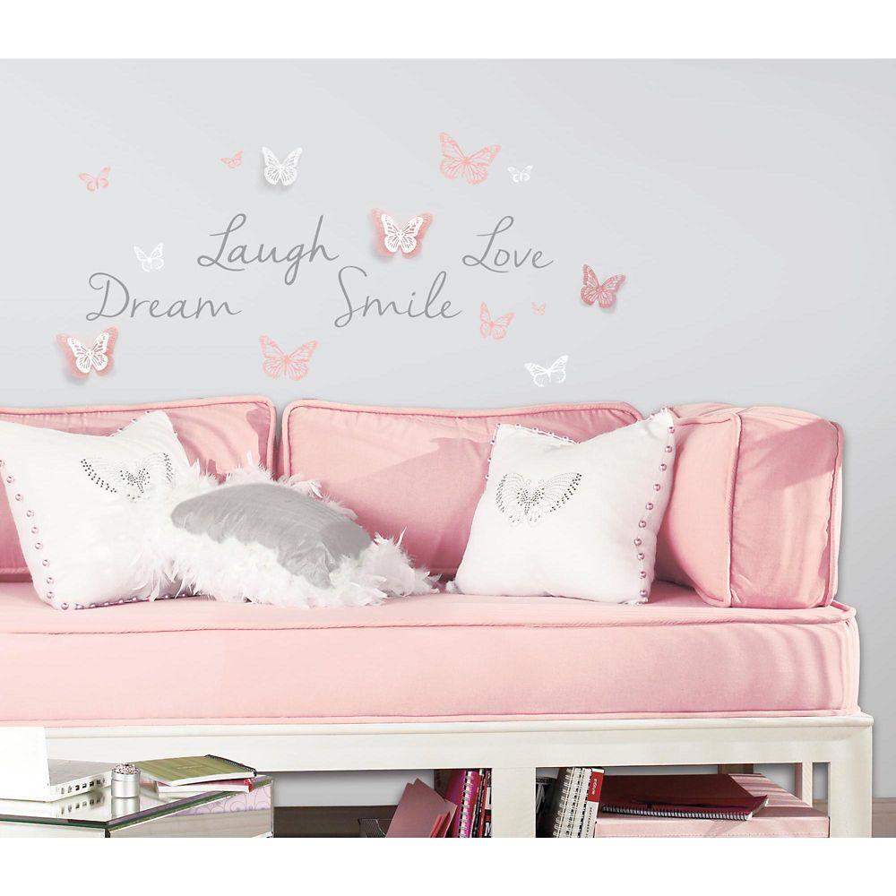 RoomMates Butterfly Dream W/3D Butterflies Wall Decals