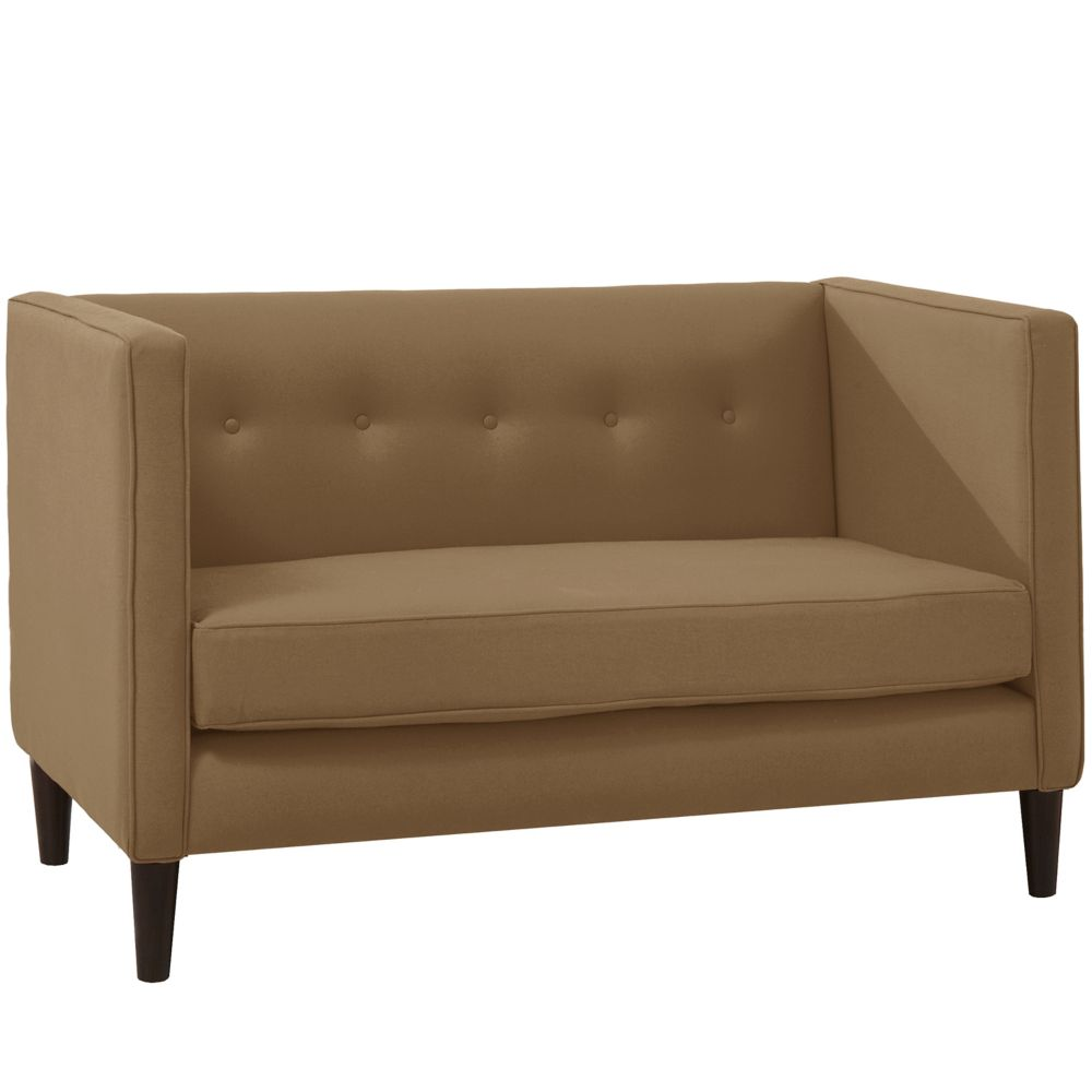Five Button Loveseat In Linen Taupe