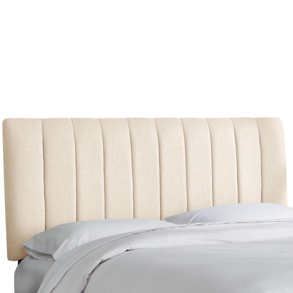 Tête de lit rembourrée jumeau en linge talc