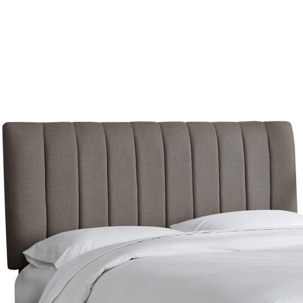 Queen Channel Seam Headboard In Linen Grey