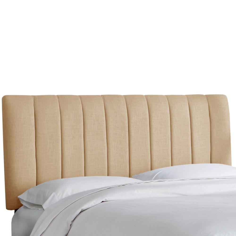 Tête de lit rembourrée reine en linge de maison grès
