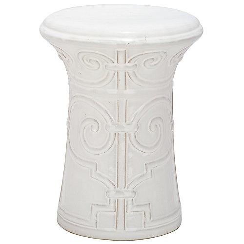 Imperial Scroll Garden Stool in White