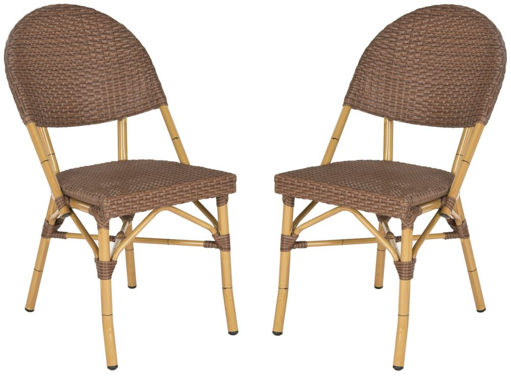 Safavieh Barrow Indoor/Patio Stacking Side Chair in Brown (2-Pack)