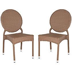 Safavieh Valdez Indoor/Patio Stacking Side Chair in Brown (2-Pack)