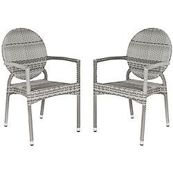 Safavieh Valdez Indoor/Patio Stacking Arm Chair in Grey (2-Pack)