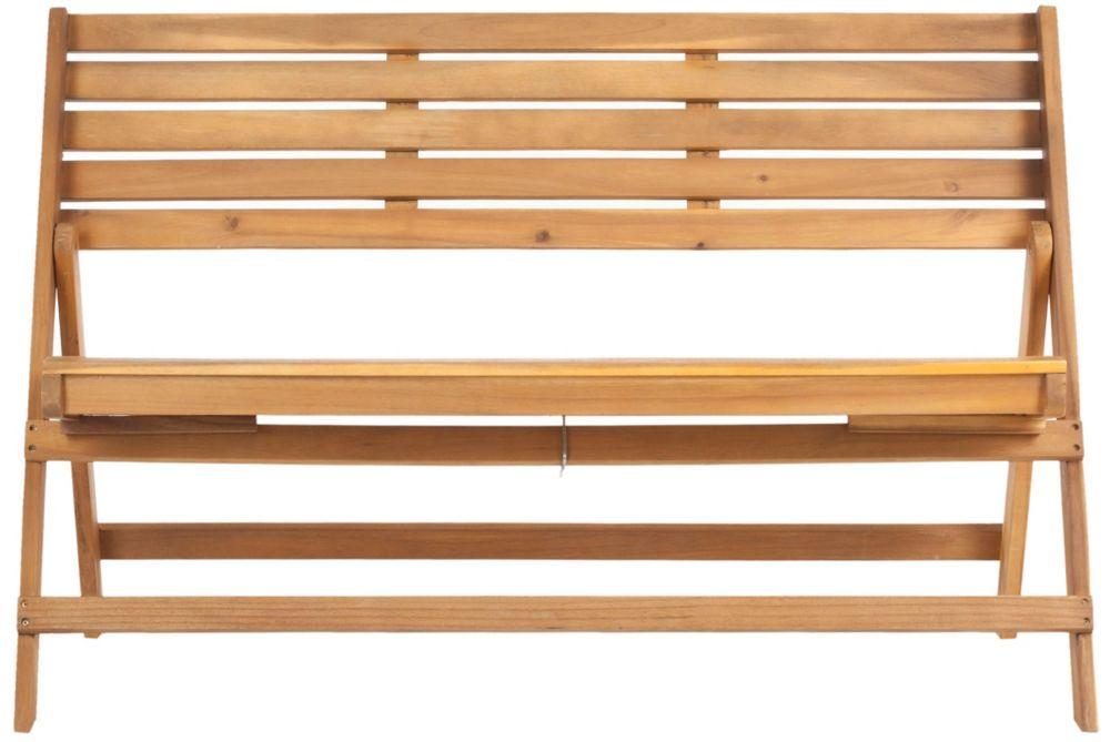Safavieh Luca Folding Patio Bench in Natural Brown