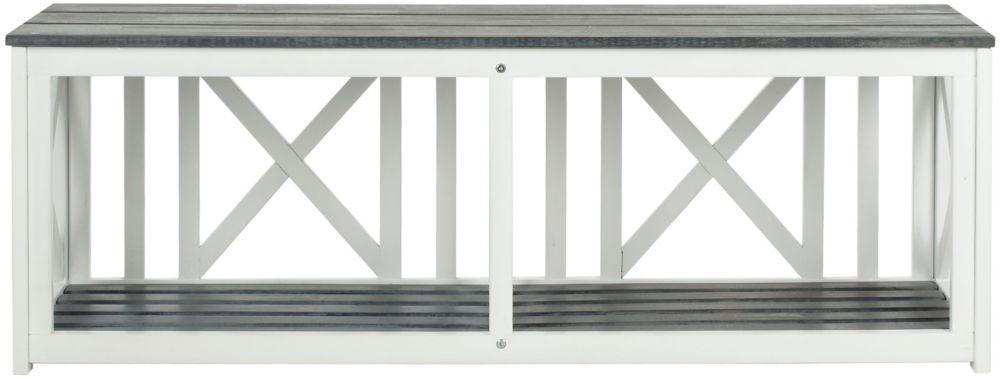 Safavieh Branco Patio Bench in White/Ash Grey