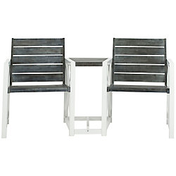 Safavieh Jovanna 2-Seat Patio Bench in White/Ash Grey