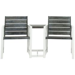 Safavieh Jovanna 2-Seat Patio Bench in White/Ash Grey