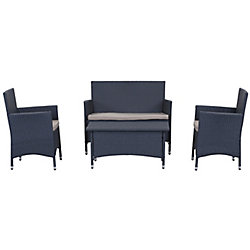 Safavieh Figuero 4-Piece Patio Conversation Set in Titanium & Sand