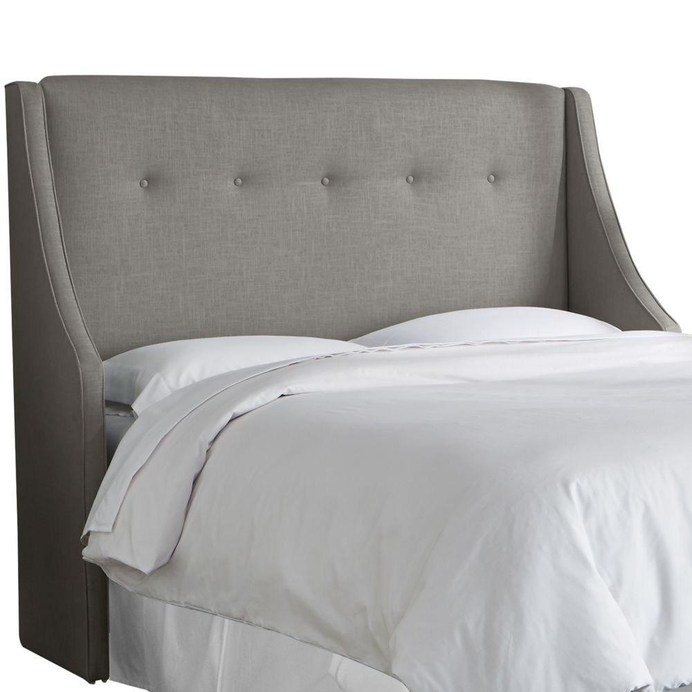 Queen Button Tufted Wingback Headboard In Linen Grey