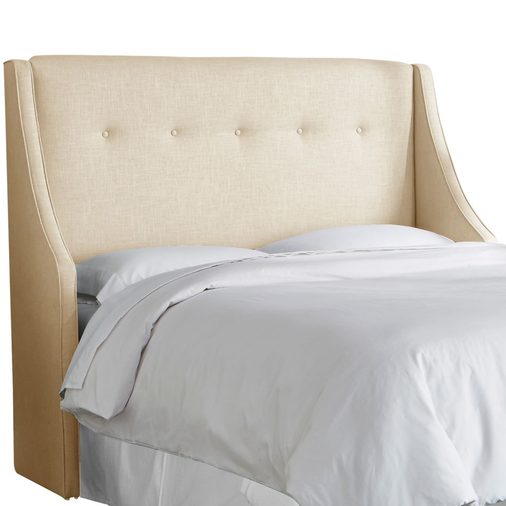 Queen Button Tufted Wingback Headboard In Linen Sandstone