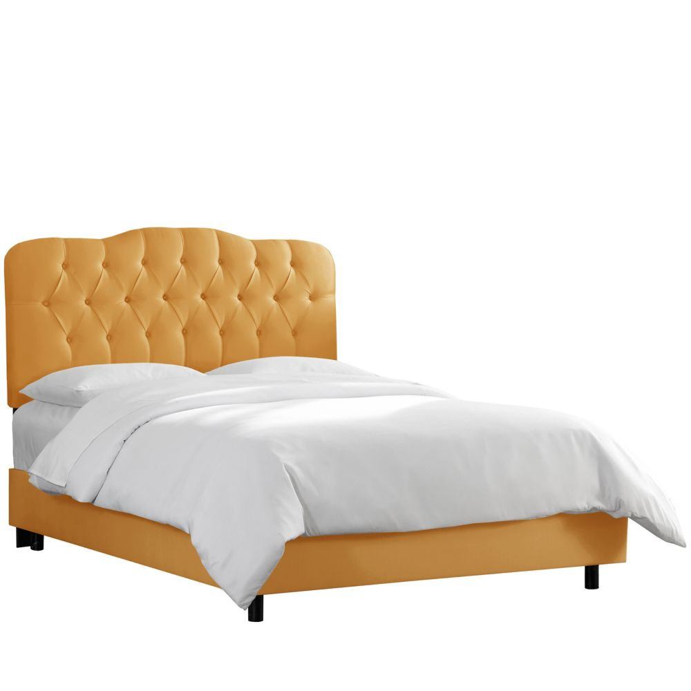 California King Tufted Bed In Shantung Aztec