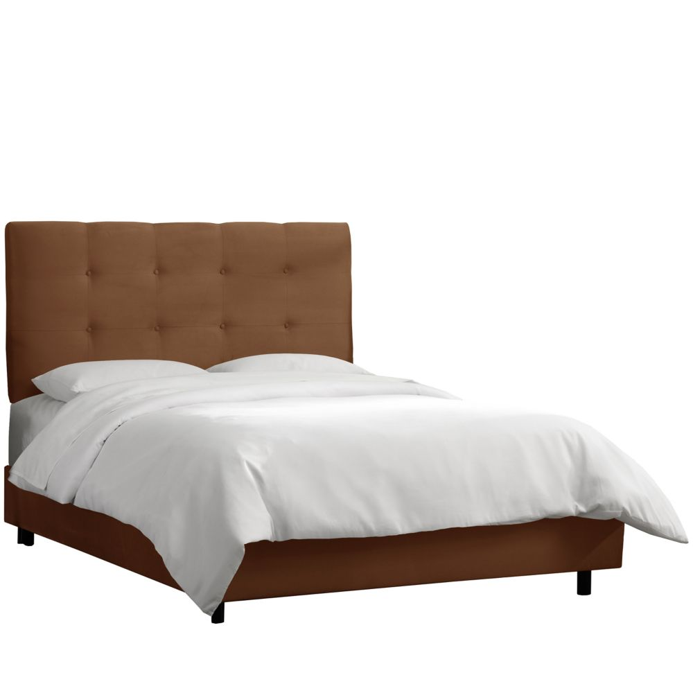Skyline Furniture King Tufted Bed In Premier Chocolate