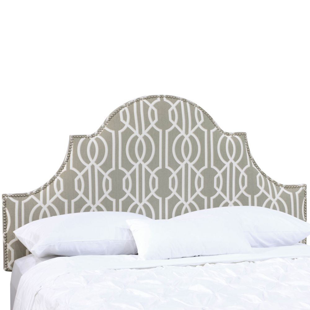 Twin Nail Button High Arch Notched Headboard In Deco Slate