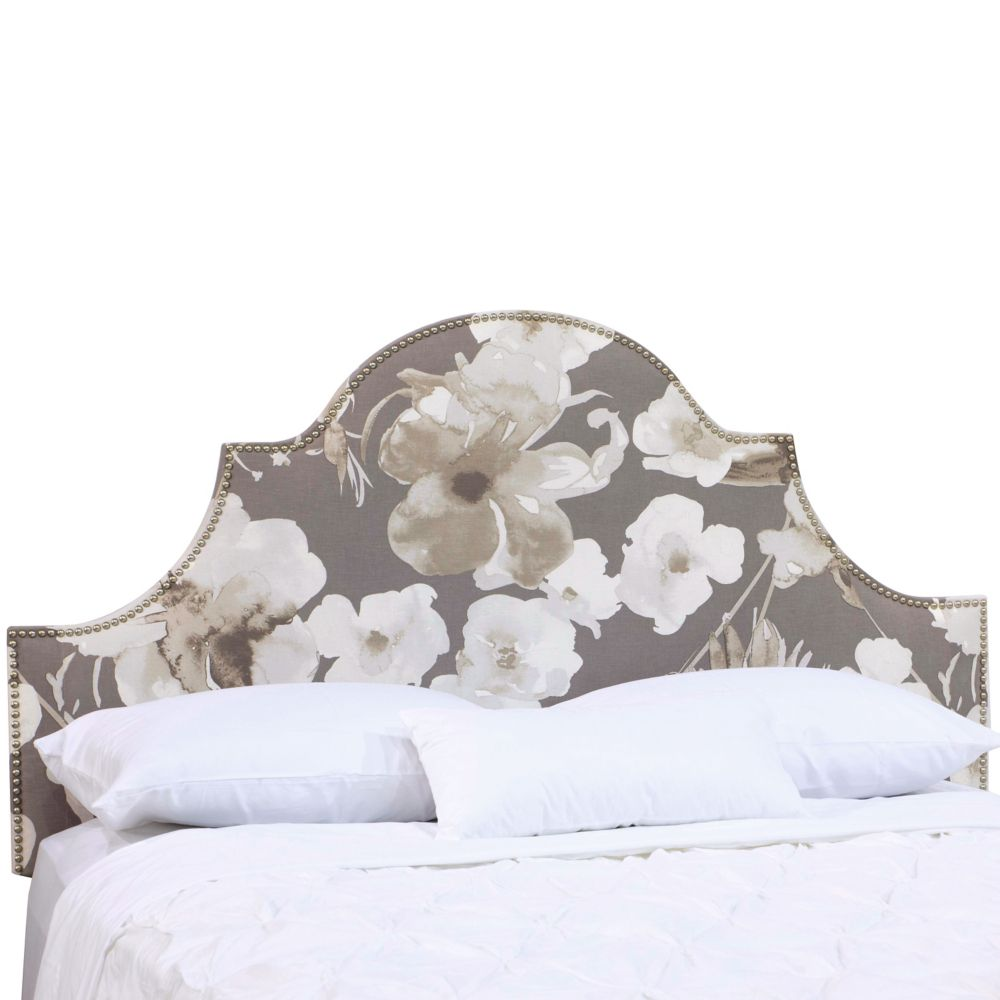 Queen Nail Button High Arch Notched Headboard In Adagio Driftwood