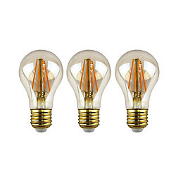 Ecosmart 60W Equivalent Amber (2200K) A19 Dimmable LED Light Bulb with Antique Glass Filament (3-Pack)