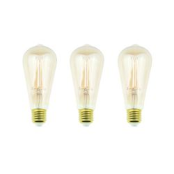 Ecosmart 60W Equivalent Amber ST19 Dimmable LED Light Bulb w/ Antique Glass Filament (3-Pack) - ENERGY STAR