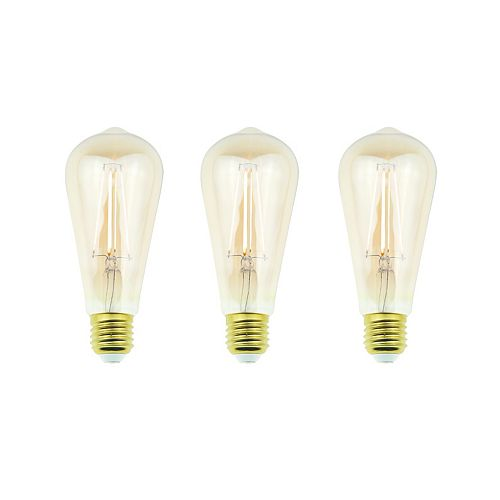 Ecosmart 60W Equivalent Amber ST19 Dimmable LED Light Bulb with Antique Glass Filament (3-Pack) - ENERGY STAR