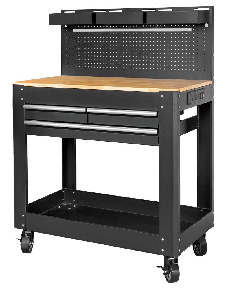 HUSKY Deluxe 3-Drawer Work Bench with Pegboard Backing