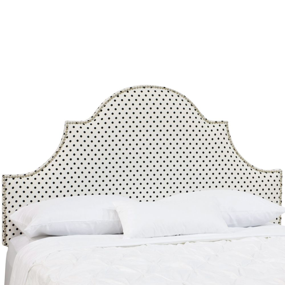 Queen Nail Button High Arch Notched Headboard In Dorothy White