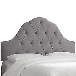 Skyline Furniture Tête de lit rembourrée jumeau en acier velours gris