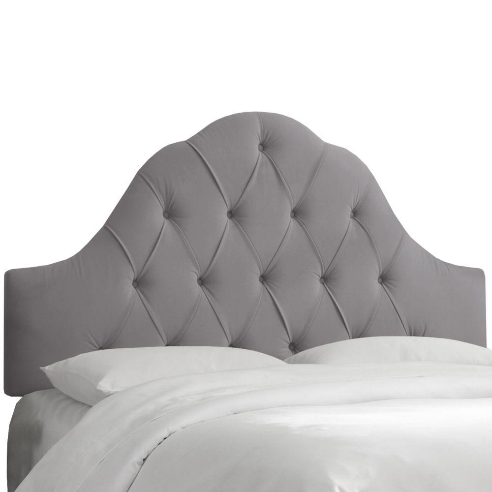 Queen Arch Tufted Headboard In Velvet Steel Grey