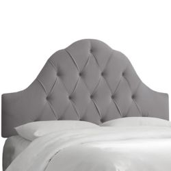 Skyline Furniture Tête de lit rembourrée reine en acier velours gris